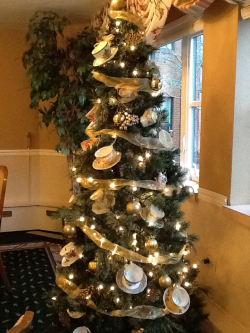 Christmas Tree with Cups & Saucers
